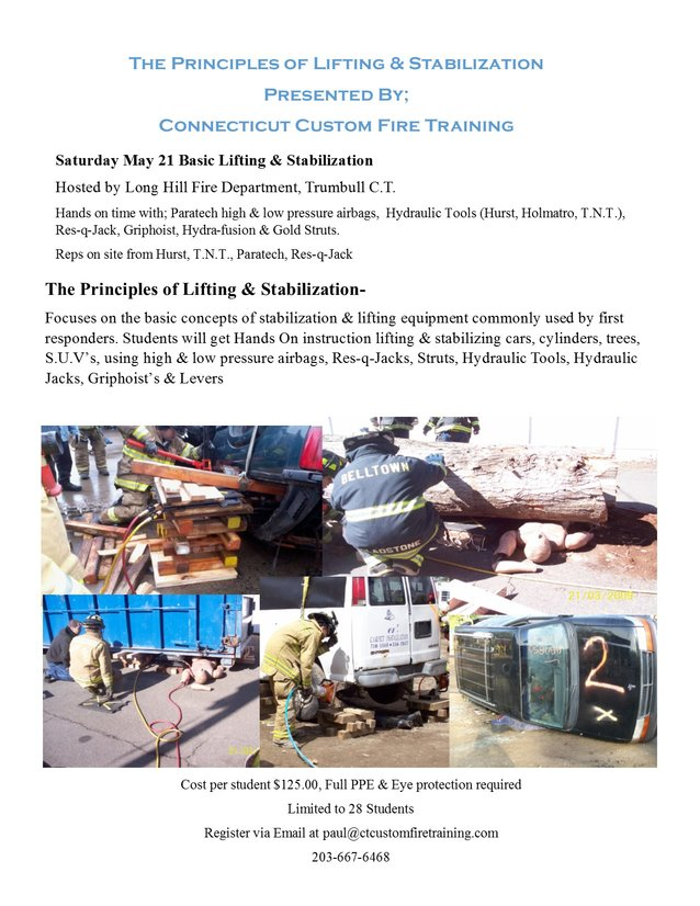 Basic Lifting & Stabilization Class May 21, 2016 Trumbull CT