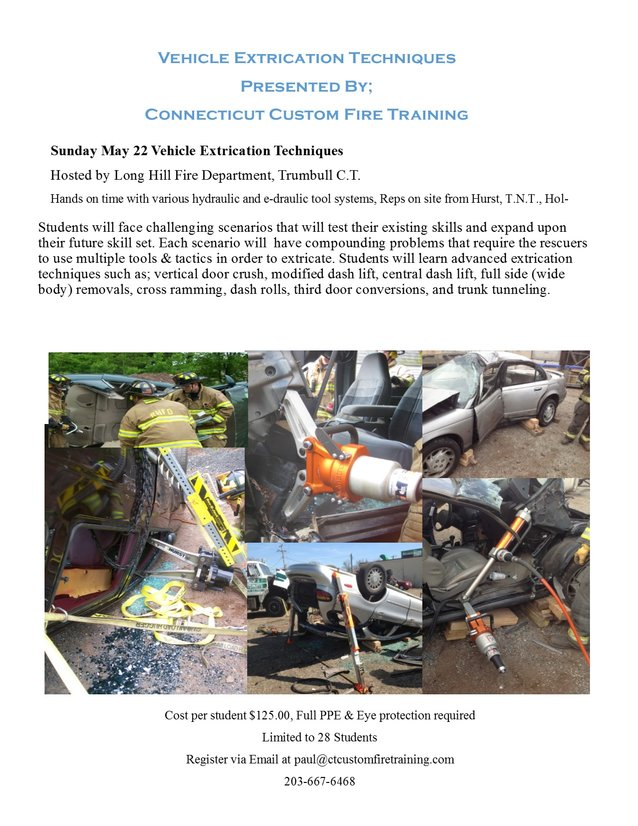 Vehicle Extrication Techniques May 22nd Trumbull, C.T.